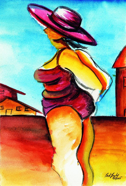 """Beach Hat: Violet"" Copyright 2014 Totsymae"