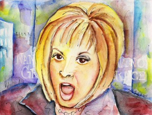 """Nancy Grace"" Watercolor on paper. Copyright 2013 Totsymae"