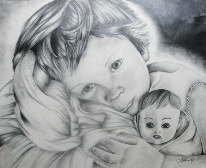 """Girl with Doll"" Graphite on Bristol Board. Copyright 2014 Totsymae"