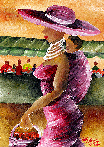 """""""To the Market"""" Acrylic on Paper. Copyright 2014 Totsymae"""