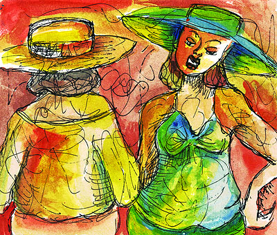 """Two Hats"" Watercolor/Ink on paper. Copyright 2013. Totsymae"