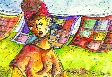 """Patches"" Watercolor on paper. Copyright 2013 Totsymae/www.toshfomby.com"