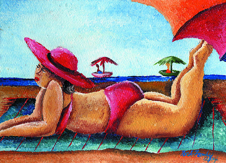 """Beatrice in Red Bikini"" Acrylic on paper. Copyright 2013 Totsymae"