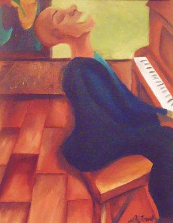 """Mr Piano Man"" Oil on Canvas. 2013 Copyright Totsymae"