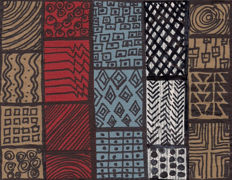 """""""Patterns"""" Recycled paper and Sharpie Pen / Copyright 2013 Totsymae"""