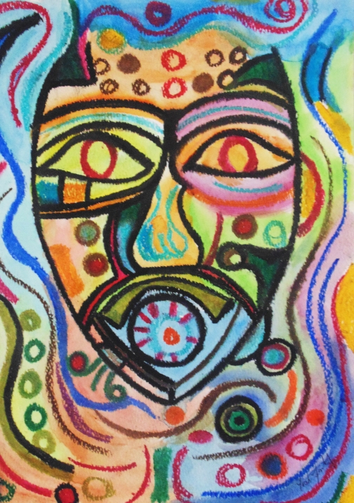 """Colours des Afrique"" Watercolor & Oil Pastel. Copyright 2013 Totsymae"