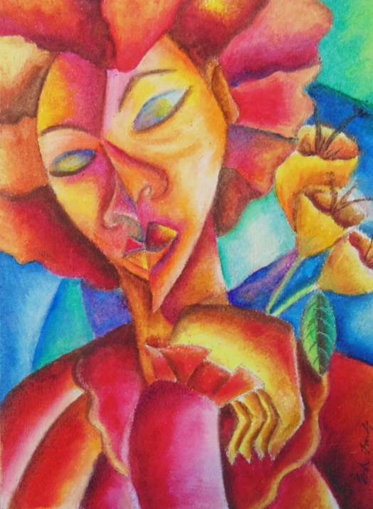 """""""Madam Afrique des Fleurs"""" Oil Pastel on paper. Copyright 2013 Totsymae"""