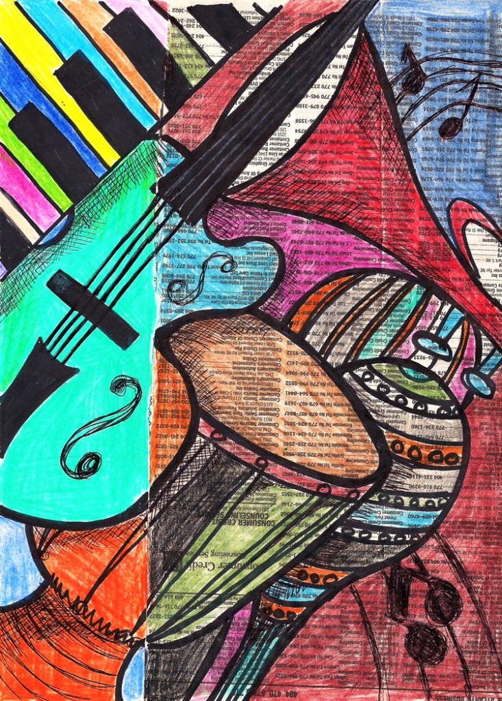 """""""The Ensemble"""" Color Pencil, Sharpie and Bic Pen on Paper Copyright 2014 Totsymae"""